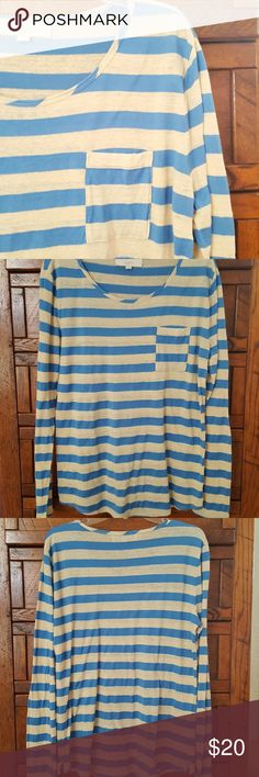 Loft || Striped Long Sleeve Tee Blue and heather beige. Front pocket. 54% linen. 46% cotton. EUC. LOFT Tops Tees - Long Sleeve