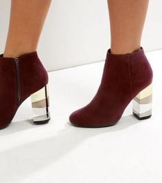 7a2aa164b0d Dark Red Suedette Metal Block Heel Boots