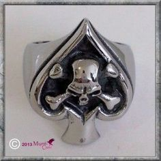 Ace of Spades Ring Ace of Skulls Stainless Steel Skull Ring. Ace of Skulls Biker, Gothic, Punk Stainless Steel Skull Ring. Ace of Clubs with Skull & Crossbones In The Centre.