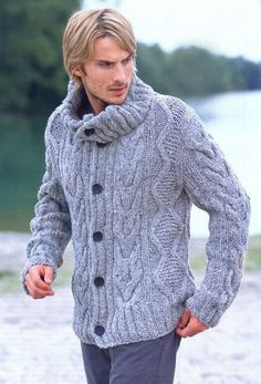 MADE TO ORDER men hand knitted cardigan turtleneck sweater cardigan men clothing wool handmade men's knitting aran cabled crewneck Knit Jacket, Sweater Jacket, Men Sweater, Men's Jacket, Gray Jacket, Chunky Knit Jumper, Knit Cardigan, Mens Dress Shorts, Jumpers For Women