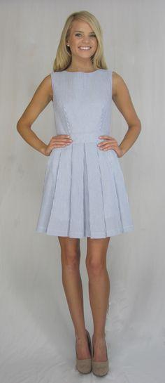 Pleated blue seersucker dress.