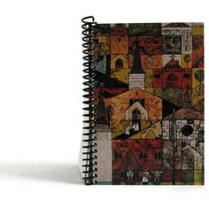Village Churches Spiral Notebook, Mid Century Art, Paper Notebook, 5x7... ($20) ❤ liked on Polyvore featuring home, home decor and stationery