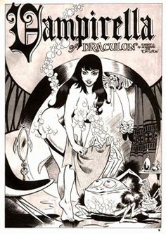 Vampirella splash page and pinup Comic Book Pages, Comic Book Characters, Comic Book Heroes, Comic Books, Rock N Roll, Top 10 Films, Black And White Comics, Cool Monsters, Famous Monsters