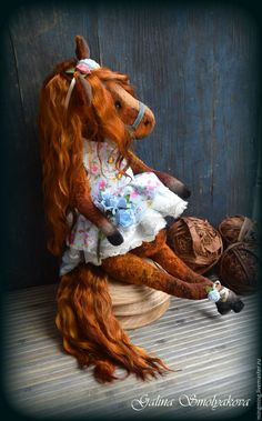 Artist Teddy Horse Doll.  Купить незабудковые поля. - голубой, лошадь, лошадка, единорог, лощад тедди…