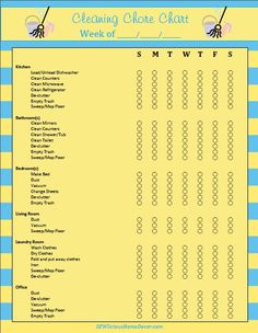 Daily Weekly Cleaning Chore Chart