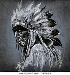 Tattoo art, portrait of american indian head over dark background by Fernando Cortes, via ShutterStock