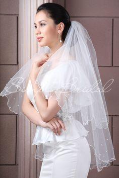 "#87062 - Two Tier 35"" Scallop Pencil Edge Veil - Veils - Wedding Accessories - Simply Bridal"