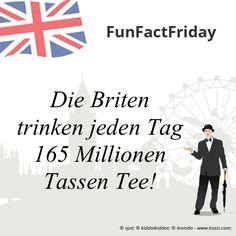 #FunFactFriday bei THE BRITISH SHOP: Die Briten trinken jeden Tag 165 Millionen Tassen Tee!