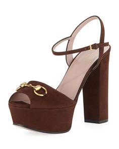 X2GJ1 Gucci Suede Horsebit Platform Sandal
