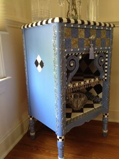 Whimsical Table, Bar, Bookcase, Night Table, Hand Painted. $ 599.00, via Etsy.
