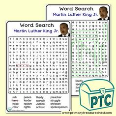 Martin Luther King Jr. Day Printables - MLF Resources - - Primary Treasure Chest Teaching Activities, Teaching Ideas, 120 Chart, Black History Month Activities, Kindergarten Songs, Craft Sites, King Jr, Treasure Chest, Martin Luther King Day