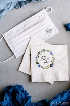 Wedding mask and cocktail napkins by The Inviting Pear | Photo credit: Jenny DeMarco Photography Blue Bonnets, Monogram Wedding, Cocktail Napkins, Cocktails, Monograms, Photo Credit, Pear, Photography, Craft Cocktails