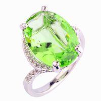 Envío gratis verde amatista anillo de plata 925 tamaño 10 Pretty Oval Cut joyería de diseño moda para mujeres venta al por mayor