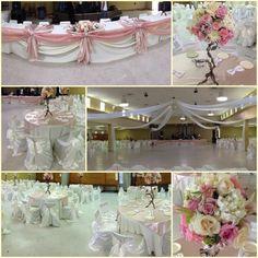 Ivory and blush hall wedding decorations