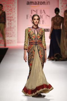 By designer Mandira Wirk. Shop for your wedding trousseau, with a personal shopper & stylist in India - Bridelan, visit our website www.bridelan.com  #Bridelan #bridelanindia #MandiraWirk #amazonindiafashionweek #amazonfashionweek2016 #autumnwinter