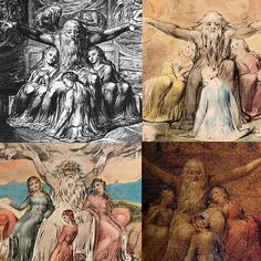 4 iterations of william blake's  - job and his daughters -