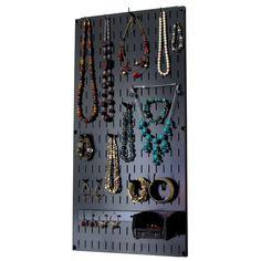 Wall Mount Jewelry Organizer, Jewelry Wall, Diy Jewelry Holder, Jewelry Armoire, Necklace Holder, Jewelry Box, Wall Organization, Jewelry Organization, Metal Pegboard