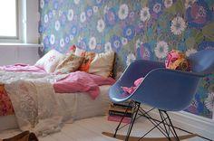 New wallpaper bedroom retro home ideas Boho Chic Bedroom, Cozy Bedroom, Bedroom Decor, Bedroom Ideas, Eames Rocking Chair, Eames Rocker, Sala Grande, Décor Antique, The Design Files