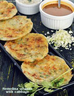 Semolina Uttapas with Cabbage, Rava Uttapa with Cabbage recipe, Quick Recipes Indian Snacks, Indian Food Recipes, Vegetarian Recipes, Cooking Recipes, Healthy Recipes, Cabbage Recipes Indian, Healthy Food, Yummy Food, Tasty