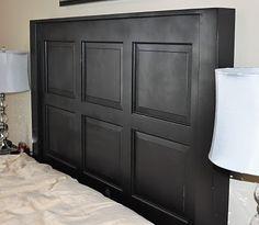 Diy headboard tiles old doors ideas Garage Door Panels, Wood Garage Doors, Old Garage, Headboard Tiles, Headboard Door, Black Headboard, Bar Outdoor, Outdoor Pallet, Recycled Door