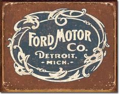Ford Historic Logo Tin Sign   A Simpler Time
