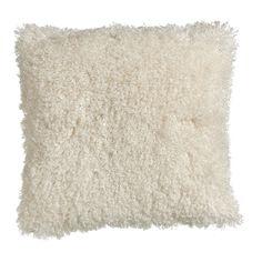 Wilko Faux Mongolian Cushion Natural 43 x 43cm