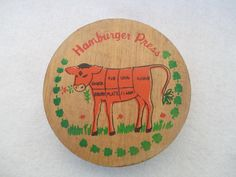 Wooden Hamburger Press Vintage Butcher's Chart Cow by HobbitHouse