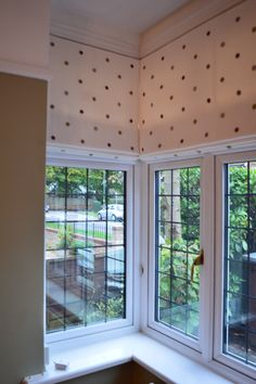 Clarke & Clarke embroidered spot fabric on 3 Roman Blinds in a square bay window Bay Window Blinds, Blinds For Windows, Curtains With Blinds, Bay Windows, Bay Window Dressing, Curtain Alternatives, Bay Window Living Room, Square Windows, House Blinds