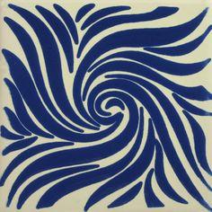 Especial Decorative Tile - Remolino Azul – Mexican Tile Designs