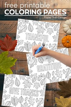 Thanksgiving, give thanks, gratitude, and thankful coloring pages with fall leaves to color for a great Thanksgiving kids activity. #papertraildesign #thanksgiving #thanksgivingcoloring #fall #fallideas #fallcoloringpages
