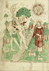 The Garden of Eden and Adam and Eve Eating the Forbidden Fruit, Alsatian, 1469. Ms. Ludwig XV 9, fol. 1v, Diebold Lauber, Hagenau