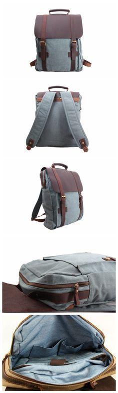 """Leather-Canvas Backpack / Laptop Bag / School Bag / Travel Bag / Backpack 1820 Model Number: 1820 Dimensions: 13""""L x 4.3""""W x 16.5""""H / 33cm(L) x 11cm(W) x 42cm(H) Weight: 3.3 lb / 1.5kg Hardware: Brass"""
