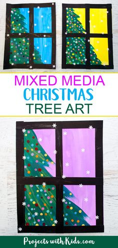 Kids will love creating this beautiful Christmas tree art project using a mixed media approach. Fun and easy techniques make this a wonderful Christmas craft activity! BK Kids will love creating this beautiful Christmas tree art project using a mixed medi Christmas Art For Kids, Christmas Art Projects, Easy Art Projects, Colorful Christmas Tree, Christmas Crafts For Kids, Projects For Kids, Beautiful Christmas, Project Projects, Christmas Trees