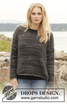 "Knitted DROPS jumper with stripes in ""Fabel"" and ""Symphony"". Size: S - XXXL. ~ DROPS Design"