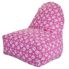 """Hot Pink with White Peace Signs Bean Bag Chair - perfect for a """"tween"""" or teenager's bedroom! -- Different color though :P Hot Pink Furniture, Bean Bag Furniture, Family Room Furniture, Kids Furniture, Furniture Chairs, Bean Bag Lounger, Bean Bag Chair, Pink Bean Bag, Wooden Dining Room Chairs"""