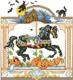Cross Stitch Craze: Horse Carousel Cross Stitch October Halloween
