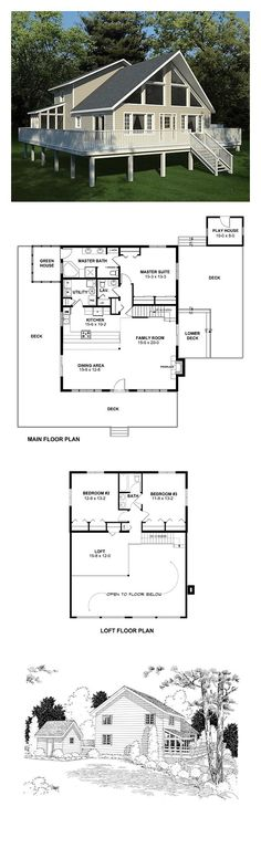 Contemporary House Plan 10515 | Total Living Area: 2044 sq. ft., 3 bedrooms & 2.5 bathrooms. The dining and family rooms are completely open to eac… …