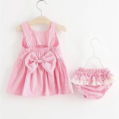 Buy Stripes Bowknot Decorated Backless Dress Set online with cheap prices and discover fashion Toddler Sets at Popreal.com.