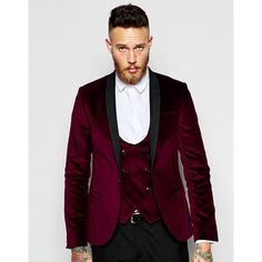 Noose & Monkey Velvet Blazer in Super Skinny Fit ($144) ❤ liked on Polyvore featuring men's fashion, men's clothing, men's sportcoats, burgundy and tall mens clothing
