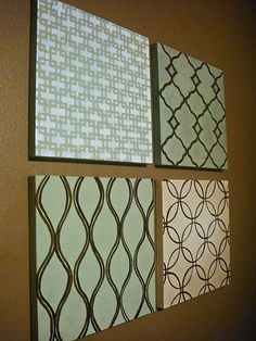 @Susan Zwier - either behind our couch or in hallway. maybe mixed in with pictures of our family?   Do with 12X12 scrapbook papers on canvas for hallway art niche. Probably 3X4 grid.