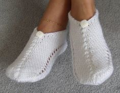 Pair of White As Snow Pocket Slippers by nittinat7 on Etsy