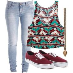 81f04da1b0c6 Chill outfit with pattern top Summer Outfits For Teen Girls Casual