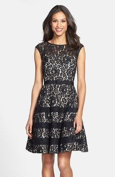 Eliza J Belted Cap Sleeve Lace Fit & Flare Dress (Regular & Petite)