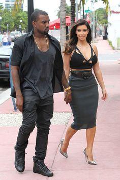 Kanye West wearing the Balenciaga Arena Black/Black and damnnn KIM