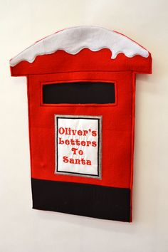 Personalised letter box. Letter's to Santa. Pattern available at the Owl and Sewing Cat.