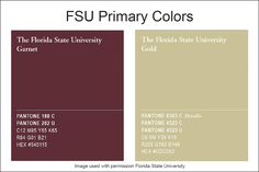 Florida State Garnet & Gold Pantone standards.