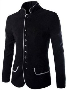 Single Breasted Color Block Edging Stand Collar Long Sleeve Slimming Modish Woolen Blend Blazer For Men