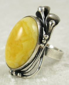 Sterling Silver Natural Butterscotch Egg Yolk Amber Art Nouveau Ring Sz7 Vintage