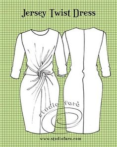 Pattern Puzzle - Jersey Twist Dress, how to make the jersey twist from a dress block Diy Clothing, Sewing Clothes, Sewing Patterns Free, Clothing Patterns, Apron Patterns, Front Knot Dress, Pattern Cutting, Pattern Making, Modelista
