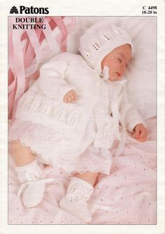 Patons 4498 Matinee Coat, Bonnet and Bootees -- free pattern Baby Knitting Free, Baby Cardigan Knitting Pattern Free, Baby Boy Knitting Patterns, Beginner Knitting Patterns, Baby Girl Patterns, Baby Sweater Patterns, Knitting For Kids, Knit Patterns, Cardigan Pattern